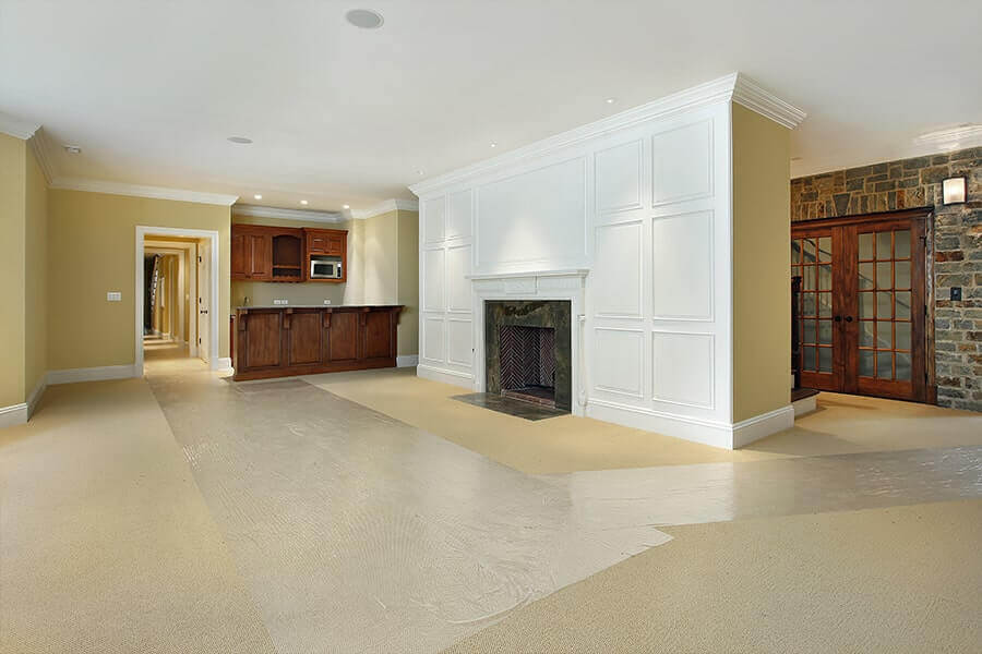 Finished Open Basement with Fireplace & Kitchen - Utah Home - Utah Basement Finishing Services