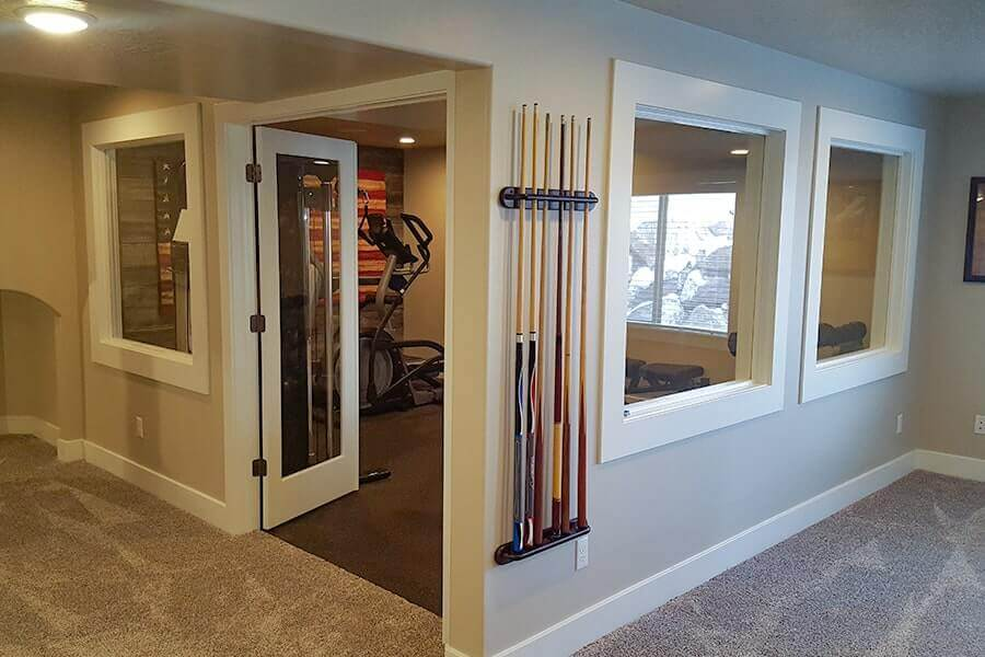 Finished Basement with Home Gym & Large Windows - Utah Home