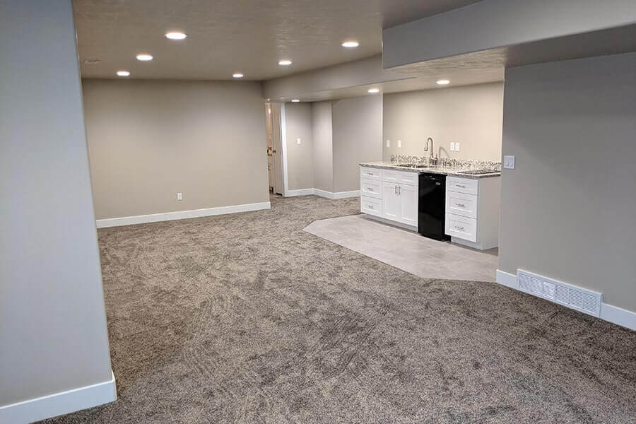 Finished Basement with Sink Area and Recessed Lighting - Utah Home