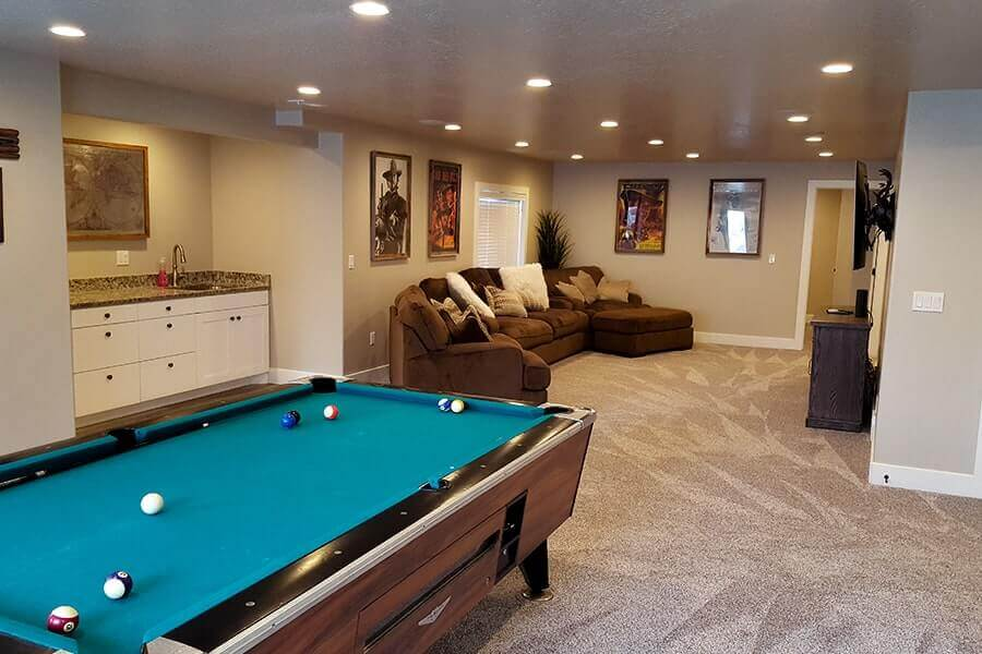 Finished Basement with Pool Table and Sink - Utah Home