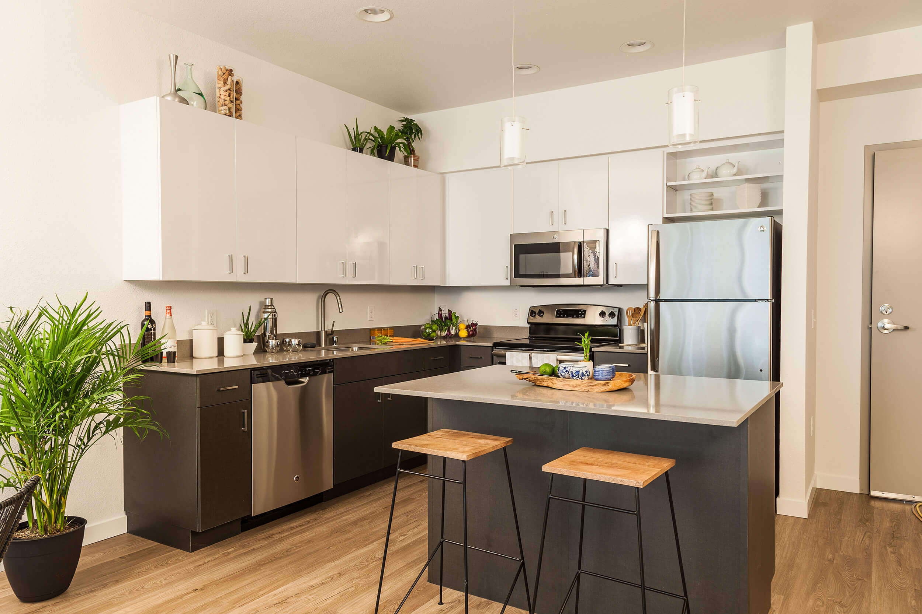 Kitchen Remodel with White & Dark Mix Cabinets - Aspire Utah Kitchen Remodeling Services